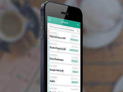 DigitaleFactuur iPhone app android ui invoice iphone app flat