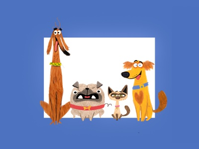 Cats & Dogs vector illustration graphic art 2d animation animation