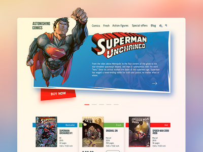 Comics Shop Home Page ukraine store shop comics ux flat ios web page home landing ui