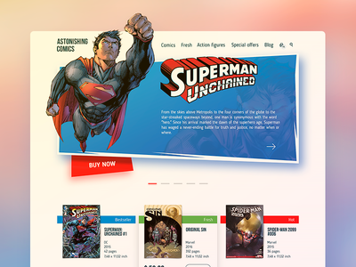 Comics Shop Home Page ukraine store shop comics ux flat ios web page home landing ui