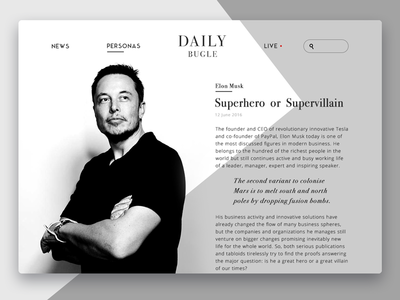 Daily Bugle Online Magazine application design ux ui material ios innovation minimal design flat ukraine magazine web