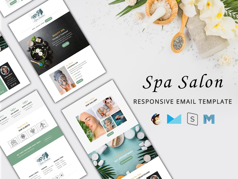 Spa Salon email Template sales discount offers wellness center spa skin care salon massage makeup healthcare hairdressers day spa cosmetic beauty spa beauty products beauty parlor spa salon