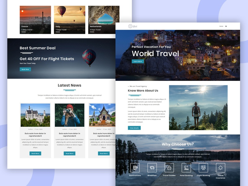 Travelo – Divi Theme Layout pennyblack pennyblack templates business template marketing templates landing page divi divi layouts hotels holiday travels travel guide travel agency holiday vacation trip tourism travel packages hotel tour travel