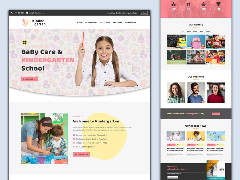 Kindergarten Landing Page uidesign charity landing page business landing page marketing landing page responsive pennyblack pennyblack templates landing page concept landing pages landing page online education education play school primary school nursery school kindergarten