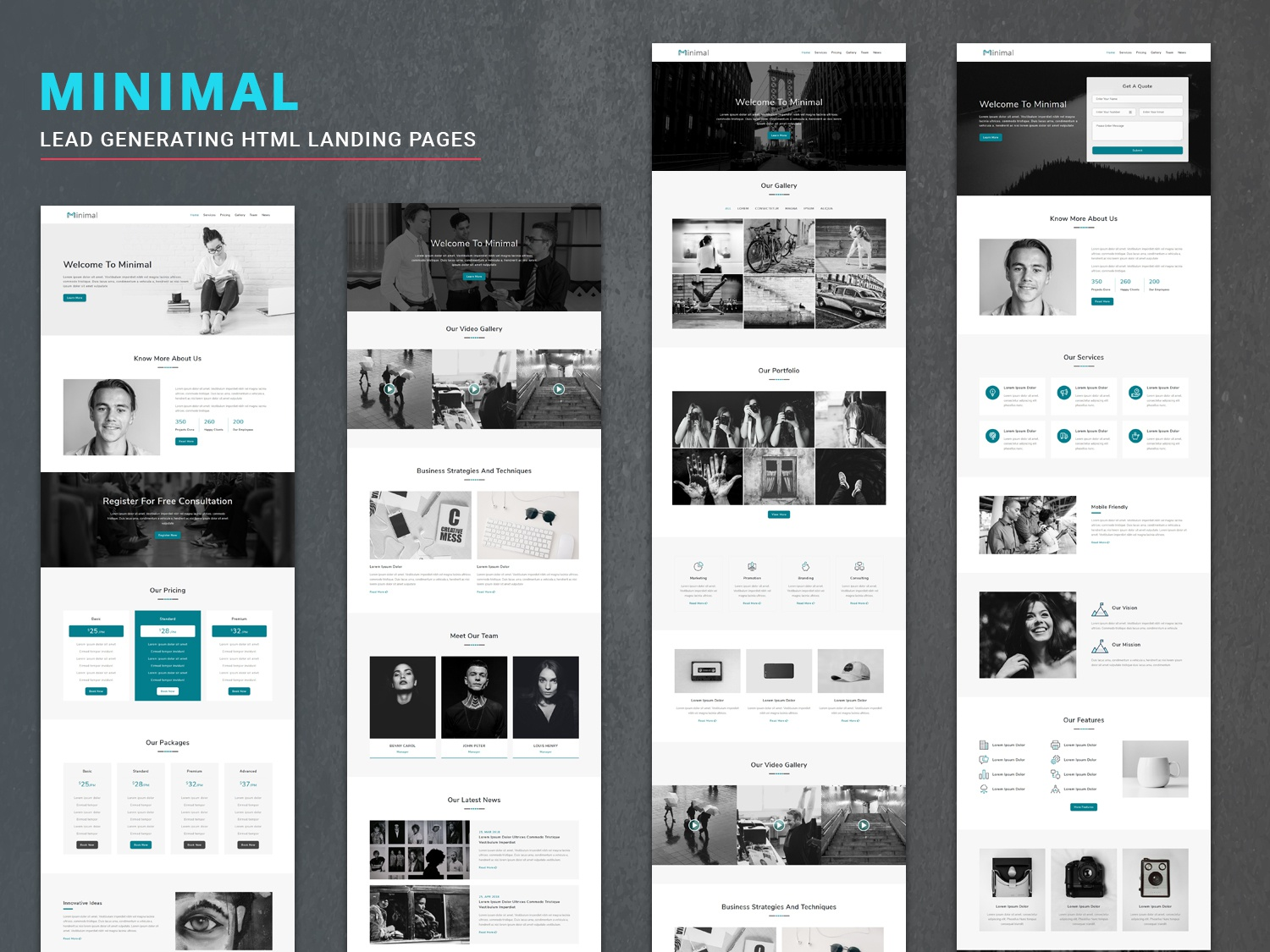Minimal - HTML Landing Pages by Pennyblack Templates on Dribbble