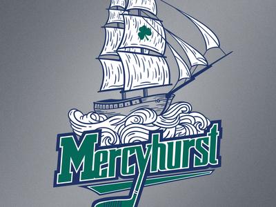Mercyhurst: Right The Ship erie illustration right the ship shirt team hockey mercyhurst