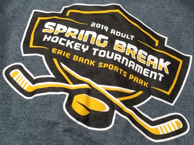 Hockey Tournament T-Shirt Printed illustration branding may kevin erie hockey design logo