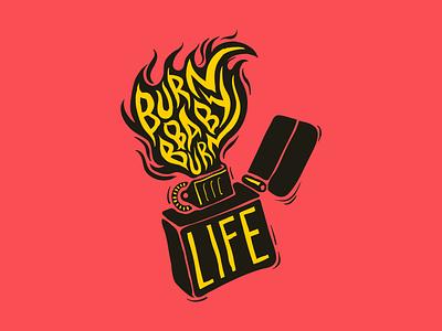 Burn baby burn print illustration design vector baby lighter fire