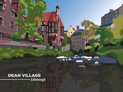 Dean Village illustrator vector cartoon freelance dean village edinburgh scotland drawing illustration graphic design