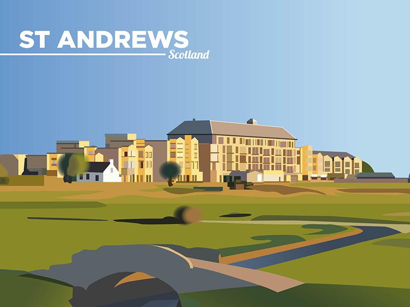 St Andrews art drawing scotland standrews illustrator print design design freelance colour vector graphic design illustration