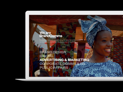 BrandComms Website bold icons motion interaction video background london agency website responsive africa