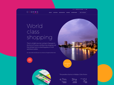 Cosmos B2B Website parallax circles round french b2b retail commercial centre shopping mall cote divoire website responsive africa