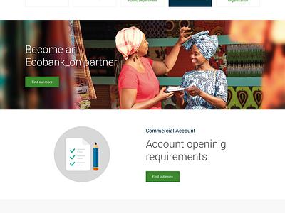 Ecobank Website corporate investment financial flat multilingual pan-african bank database portal website responsive africa