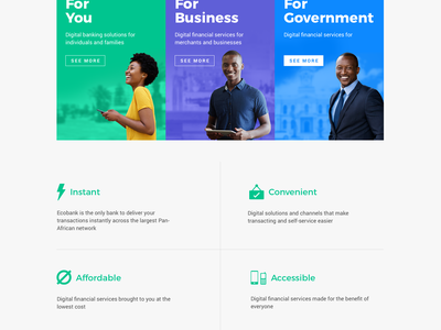 Ecobank_on Website government flat financial services bank business website responsive africa