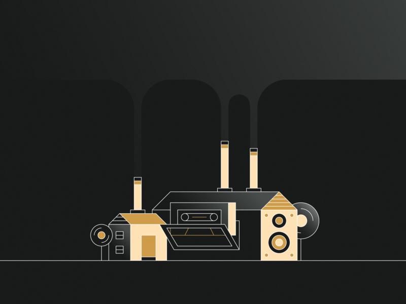 Dirty beats audio speaker cassette tape tree factory smoke music house icon illustration flat design vector