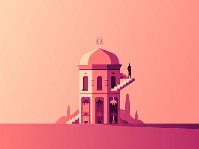 Recluse sky stairs desert gradient figure mirage building illustration flat design vector