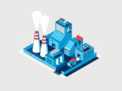 Isometric Factory block blue truck silo building icon isometric factory illustration flat design vector