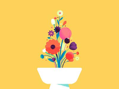 Happy Holidays procreate brush vase pot petal leaf texture flower 2020 christmas holidays tree illustration flat design vector