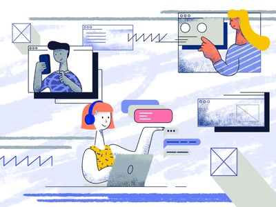 Remote UX research editorial blogpost remote research ux illustrator cc tooploox illustration