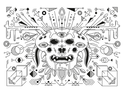 mindhunter hypnotic black  white monster design illustrator cc vector illustration