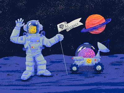 AI Residency machinelearning moon astronaut space photoshop tooploox ai illustration