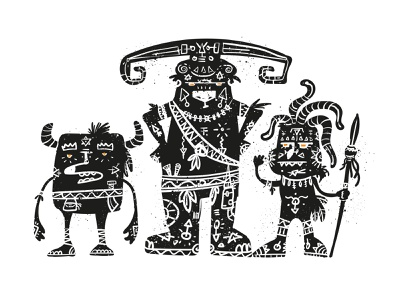 three amigos amigos three characterdesign monsters vector illustration