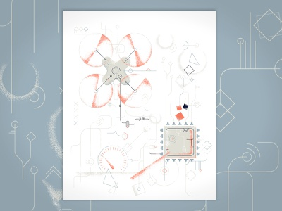 AI on the chip illustrator cc report trends chip drone it ai tooploox vector illustration