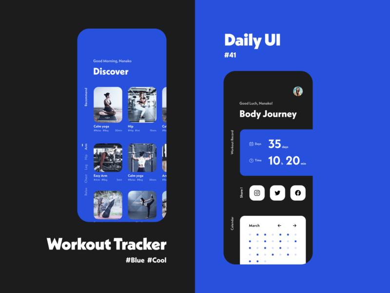 Daily UI #041 − Workout Tracker workout tracker workout app workout dailyui 041 daily ui challange daily ui challenge dark ui figma daily ui design blue uidesign dailyui