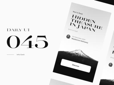 Daily UI 045 - Info Card 🗻 daily ui 045 dailyui 045 black and white black  white blackandwhite monochrome photo ui figma daily ui clean uidesign dailyui
