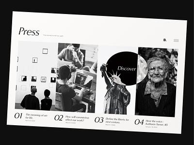 Daily UI 051 - Press Page monochrome monotone classic retro daily ui challenge photo ui figma daily ui design uidesign dailyui