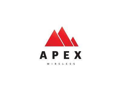 Apex Wireless apex mountain design flat logo brandidentity logodesigner icon illustration vector branding