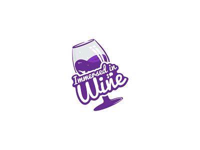 Immersed in Wine logodesign vector logotype illustration icon logodesigner design flat brandidentity winelogo logo