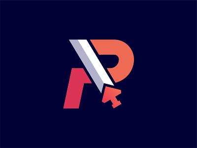 R + Sword logodesign art r letter icon illustration vector design flat logo r logo sword sword logo r