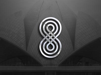 Eight black and white monogram logo dribbble best shot circle line app designer designs 8 chrome creative logo logodesign illustration design vector logodesigner icon flat logo eight