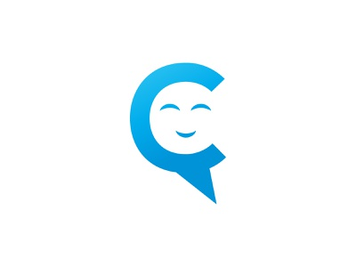 AnswerCrew vector logotype icon illustration logodesigner logo flat design brandidentity happy face c logo c
