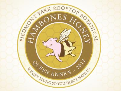HamBones Honey Label circle label logo honeycomb pig bee pigbee