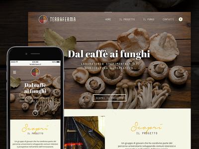 Terraferma mushrooms coffee website responsive mobile wood