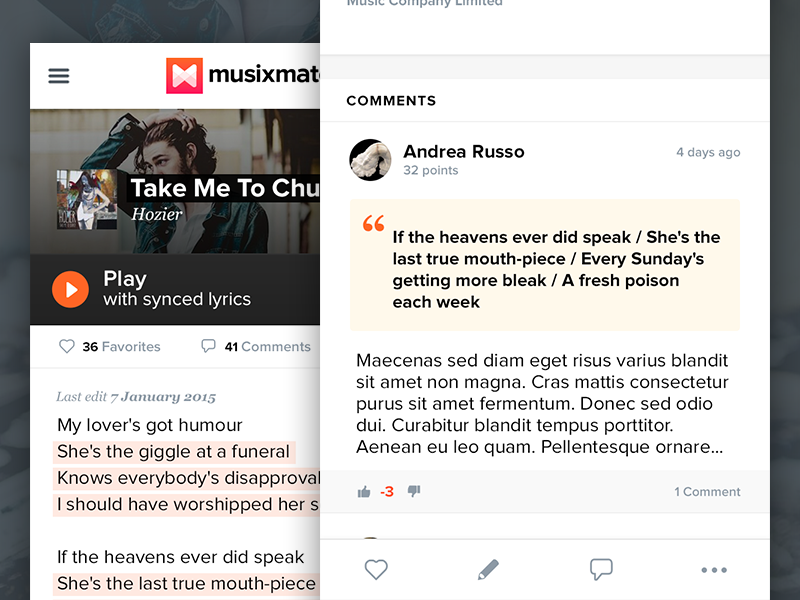 Lyrics page - Mobile lyrics music play responsive iphone tab bar comments annotation