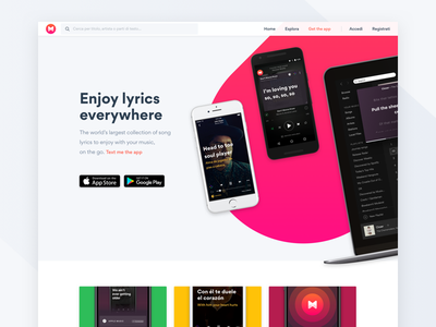 Musixmatch apps android ios website homepage ui