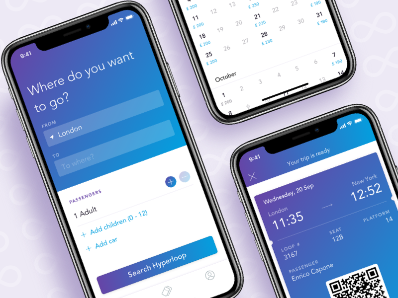 Hyperloop – Booking section ui iphonex ticket train booking