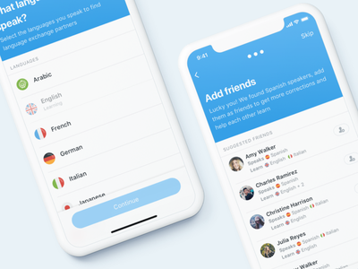 Friends suggestion flags ios iphone languages ux ui