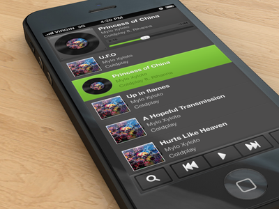 Music player iPhone app