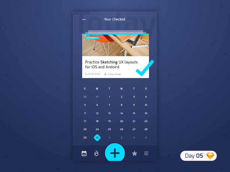 #05 | Productivity App | .sketch blue app productivity dailyui challenge daily ui iphone ios typography free freebie