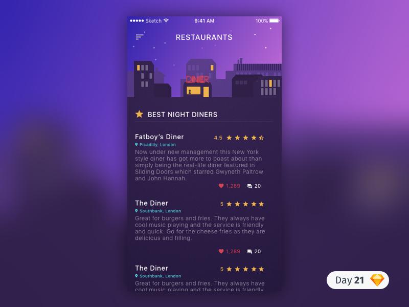 #21 | Diner Reviews | .sketch reviews ios purple diner app free freebie sketch download dailyui daily ui