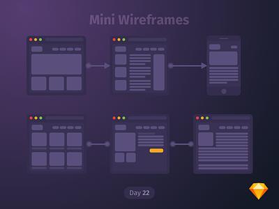 #22 | Mini Wireframes | .sketch daily ui dailyui download sketch freebie free app wireframes dark ios ux