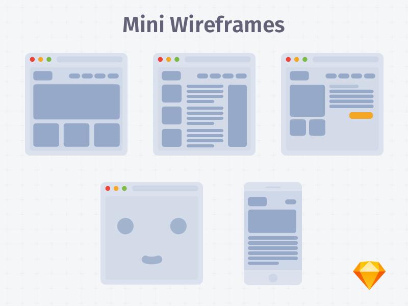Mini Wireframes White | .sketch grey ux ios wireframes app free freebie sketch download