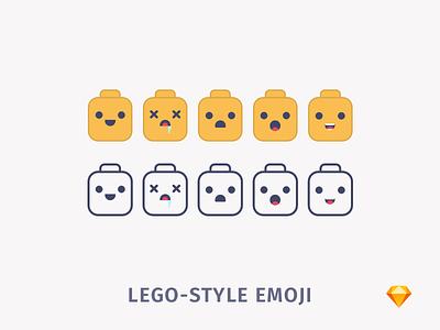Lego-style Emoji   .sketch download sketch freebie free yellow stickers lego emoji emotions