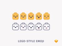Lego-style Emoji | .sketch download sketch freebie free yellow stickers lego emoji emotions