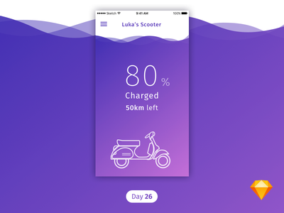 #26 | Scooter Charge | .sketch scooter ios purple ev-charge app free freebie sketch download dailyui daily ui