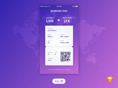 #31   Boarding Pass   .sketch download sketch freebie free dailyui daily ui boarding pass plane boardingpass
